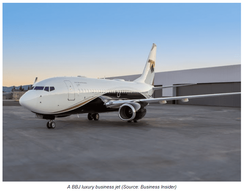 A BBJ luxury business jet