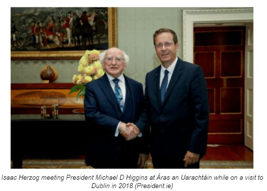 Isaac Herzog meeting President Michael D Higgins at Áras an Uarachtáin while on a visit to Dublin in 2018