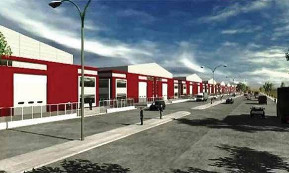 An architectural rendering of the proposed Palestinian Jalma industrial zone north of Jenin. The zone was proposed in the late 1990s, but was never built. (General Organization for Industrial Estates and Free Industrial Zones/Palestinian Authority) via JCPA