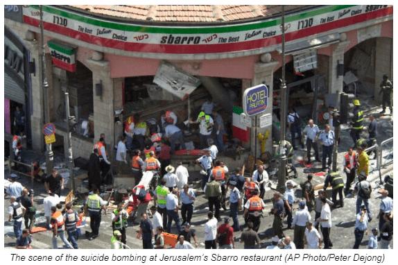 The scene of the suicide bombing at Jerusalem's Sbarro restaurant (AP Photo/Peter Dejong)