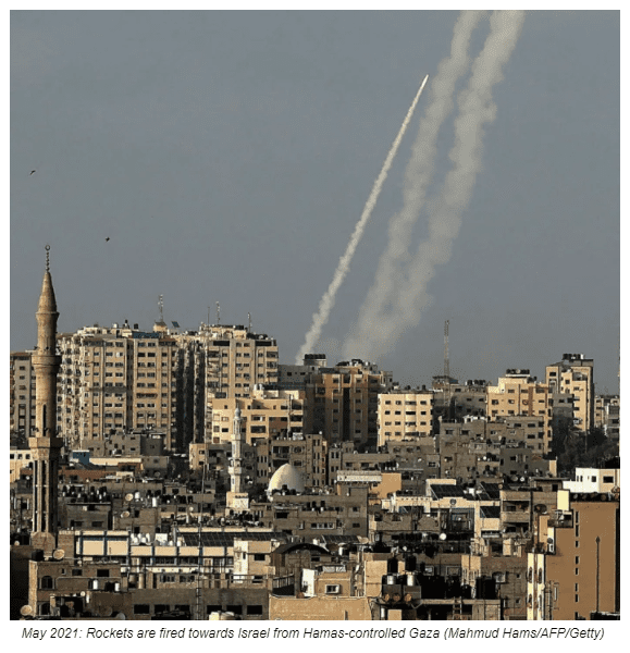 May 2021: Rockets are fired towards Israel from Hamas-controlled Gaza (Mahmud Hams/AFP/Getty)